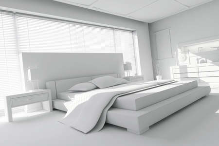 3d clay render of a modern bedroom photo