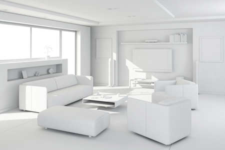 3d clay render of a modern interior design Stock Photo - 9029138