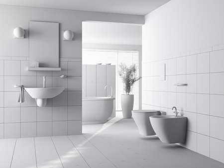 bathroom interior: 3d clay render of a modern bathroom interior design Stock Photo