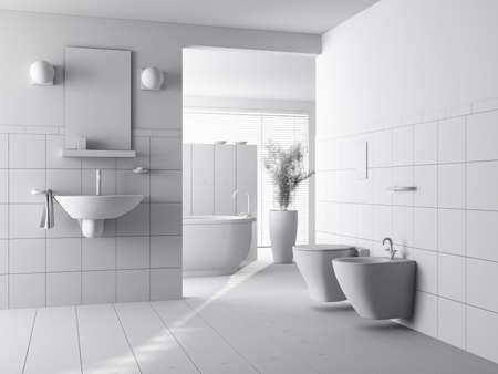 bad fliesen: 3D Clay Rendern des ein modernes Bad Interior design