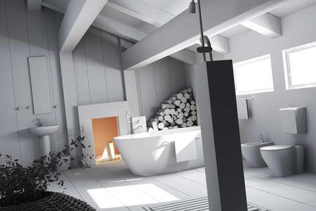 3d clay render of a bathroom photo
