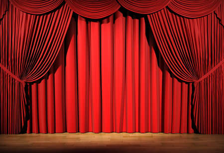 3d stage render, red curtain Stock Photo - 9088378