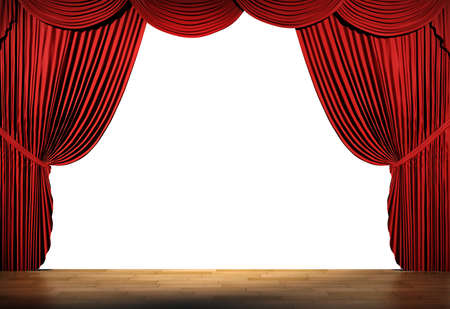 stage curtain: 3d stage render, red curtain