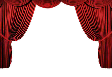 red curtain: 3d stage render, red curtain