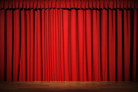 theatrical: 3d stage render, red curtain