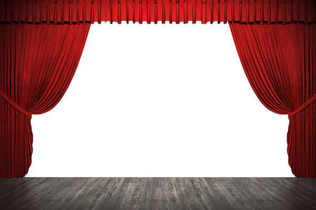 floor cloth: 3d stage render, red curtain
