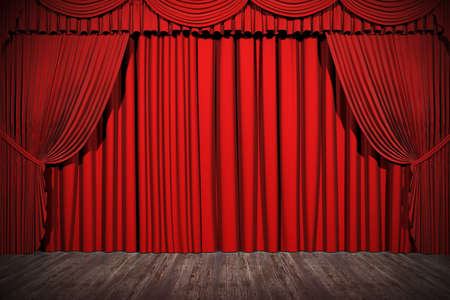 3d stage render, red curtain Stock Photo - 9088379