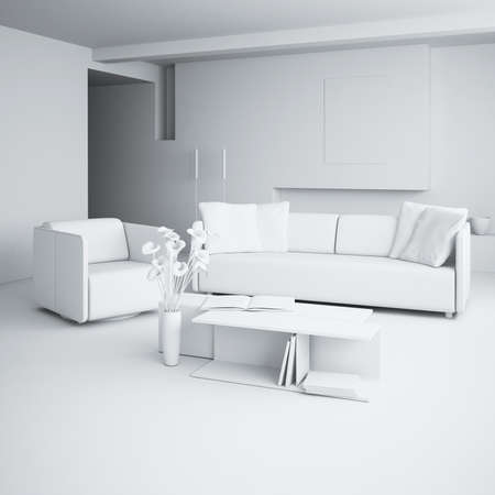 3d clay render of a modern interior design Stock Photo - 9088377