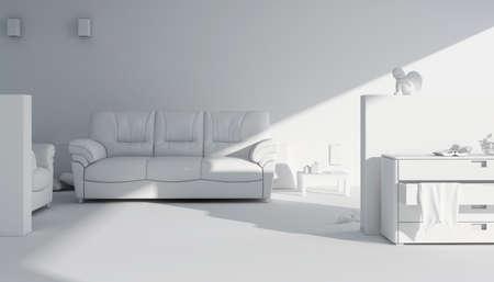 3d clay render of a modern inter design Stock Photo - 9088373