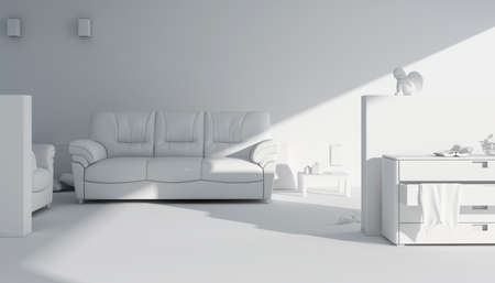 3d clay render of a modern interior design Stock Photo - 9088373