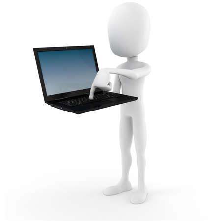 3d man holding a laptop - Push The Button Stock Photo - 9088360