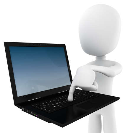 3d man holding a laptop - Push The Button Stock Photo - 9088368