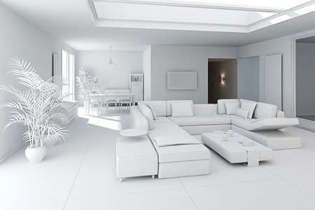 3d clay render of a modern interior design Stock Photo - 9208952