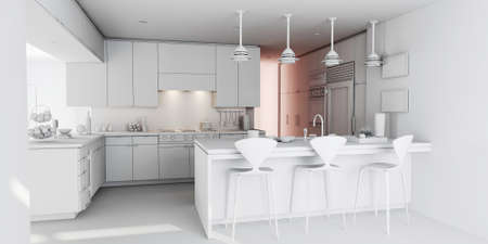 ambience: 3d clay rander of a modern kitchen