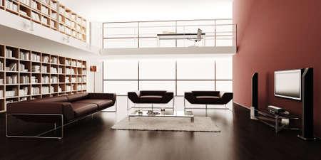 room design: 3d render of a modern interior design