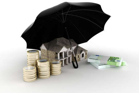 home insurance: 3d Property insurance concept
