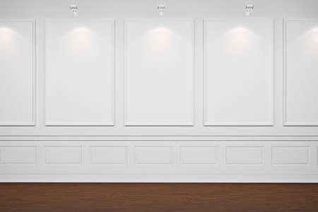 pared iluminada: 3D cuadros vac�os de paredes blancas
