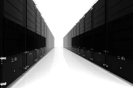 3d server - datacenter, on white Stock Photo - 9316642