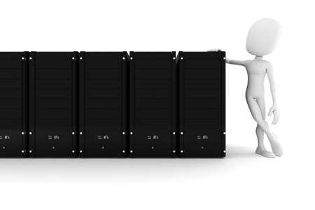 3d man and data center servers photo