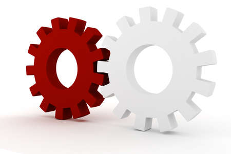3d wheel gears on white background Stock Photo - 9316623