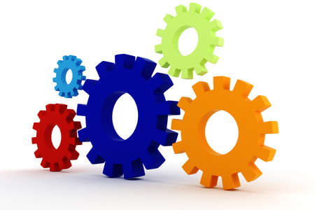 3d colorfull  gears wheel on white background Stock Photo - 9316622