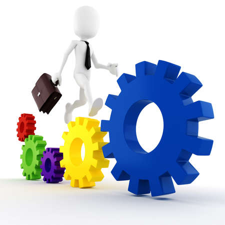 3d man business man running on some colorful wheel gears Stock Photo - 9316634