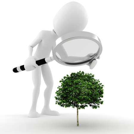man outdoors: 3d man , a magnifier glass and a small tree - concept