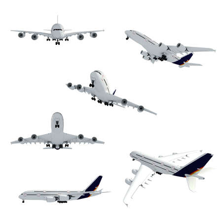cargo plane: 3d airplane on white background
