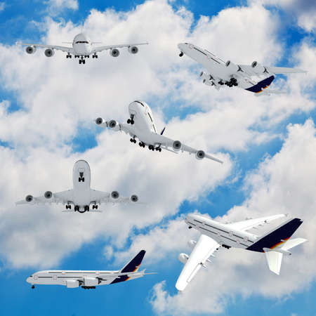 3d airplanes against perfect blue sky photo