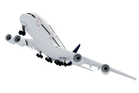 view from the plane: 3d airplane on white background