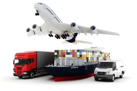 containerschip: 3D-wereld brede lading vervoer concept