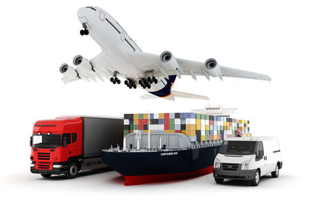 comercio: concepto de transporte de carga amplia mundo 3D Foto de archivo