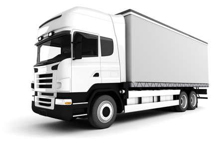3d white truck photo