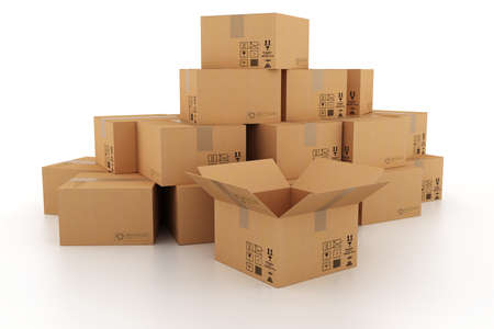moving office: 3d cardboard boxes Stock Photo