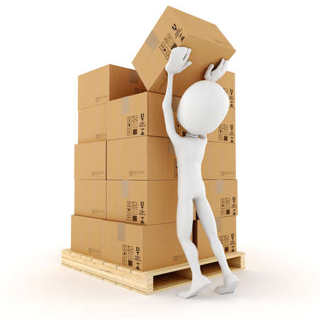 distribution board: 3d man stacking some cardboard boxes