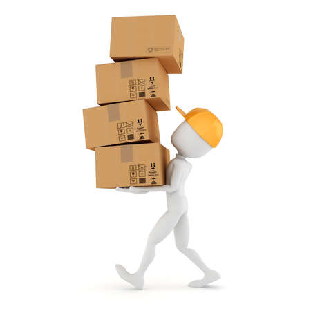 carton: 3d man holding a pile of cardboard boxes