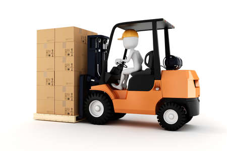 stacking: 3d man worker driving a forklift Stock Photo