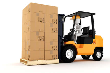 lift trucks: 3d man worker driving a forklift Stock Photo