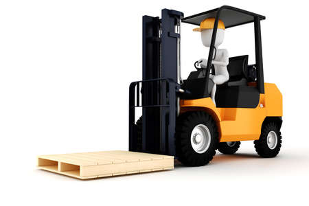 work crate: 3d man worker driving a forklift Stock Photo