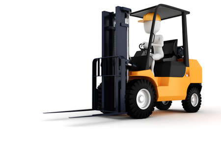 3D trabajador de hombre conduciendo un montacargas