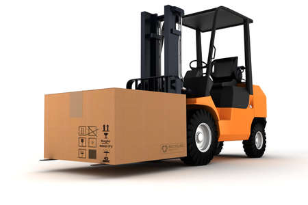 3d forklift and a big cardboard box Stock Photo - 9345455