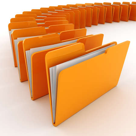 record office: 3d colorfull folders, on white background