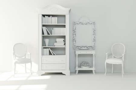 3d interior design - clay render Stock Photo - 9422307