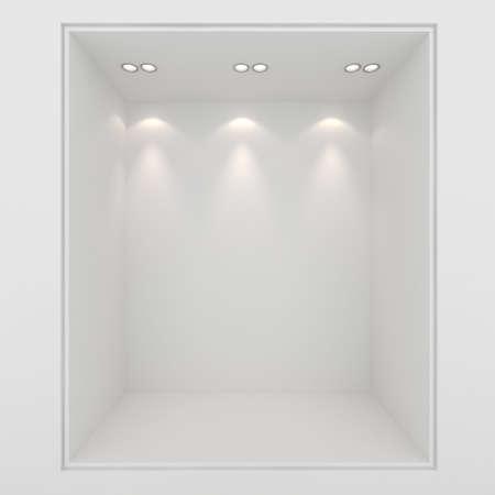 window display: 3d render of an empty presentation showase