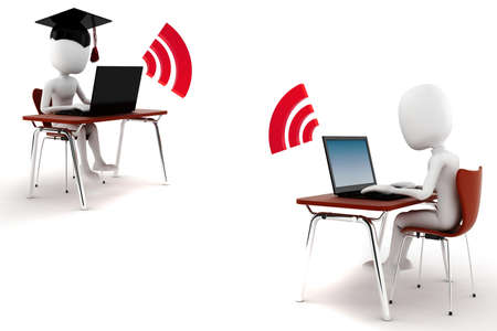 3d man e-learningm isolated on white background photo