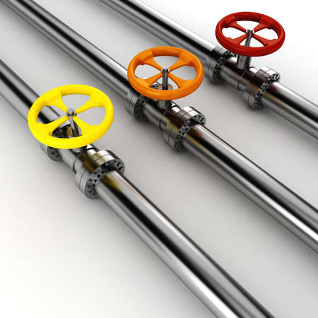 natural gas production: 3d shiny pipelines on white background