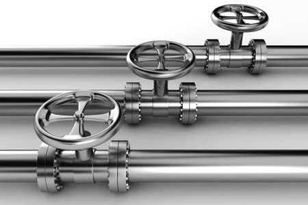 gas supply: 3d shiny pipelines on white background