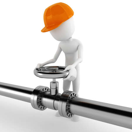 water pipes: 3d man worker and a shiny pipeline