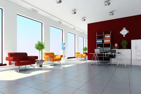 3d modern office interior design Stock Photo - 9502015