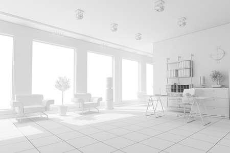 3d modern office interior design Stock Photo - 9502000